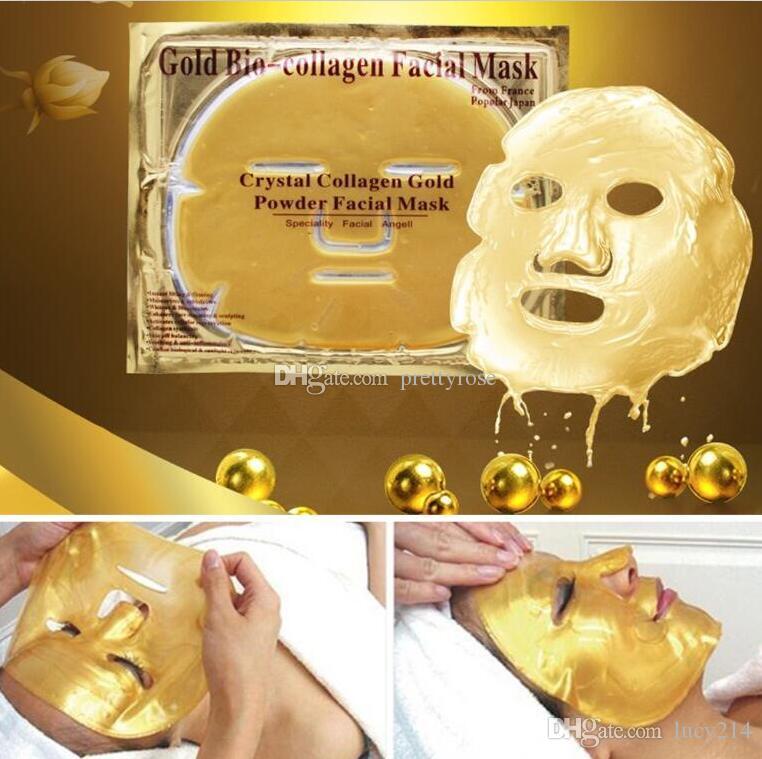 Ucuz toptan Altın Biyo-Kolajen Yüz Maskesi Yüz Maskesi Kristal Altın Tozu Kollajen Yüz Maskesi Nemlendirici Anti-aging 24 k Altın Maskeleri