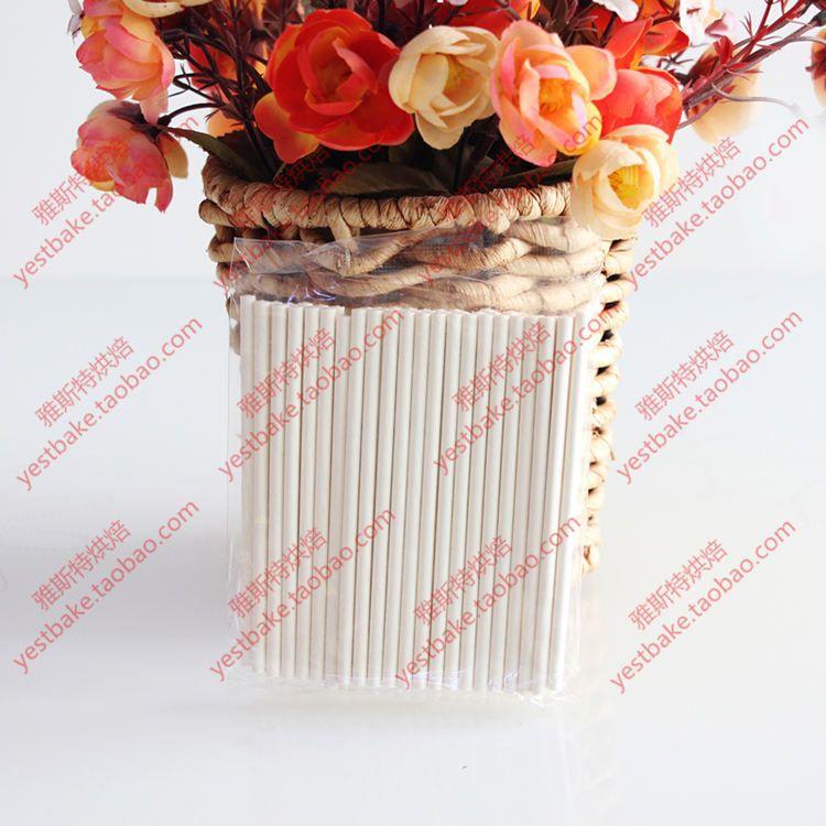 100pcs bâtons de sucettes de papier de base solide 100mm * 3.5mm bâton Lolly pour Fondant Bonbons Au Chocolat Gâteau Pop Cupcakes Making Moule Blanc