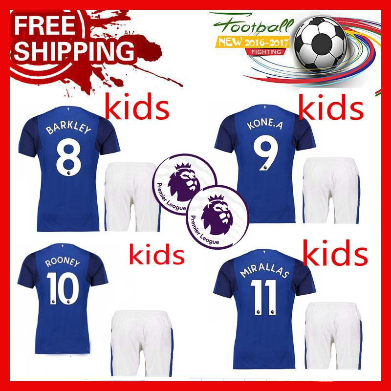 b14095f0f4a Kids Everton Home Increase Patch Soccer Jersey 17 18  10 ROONEY ...