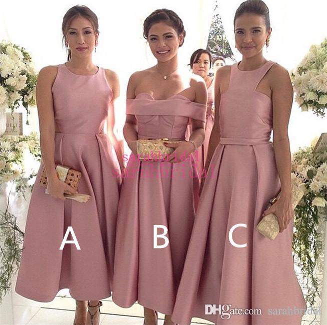 2019 Comprimento do Chá Blush Rosa Da Dama de Honra Vestidos Para Venda Quente comprimento do chá vestidos de baile Custom Made Cetim Nupcial Do Partido Vestidos curto Honra