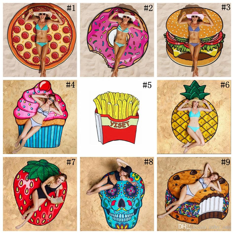 beach towel. 11 Designs Round Beach Towel Pizza Hamburger Skull Strawberry Smiley Emoji  Pineapple Watermelon Shower Blanket Shawl Ooa1390 Bath Towels On Sale