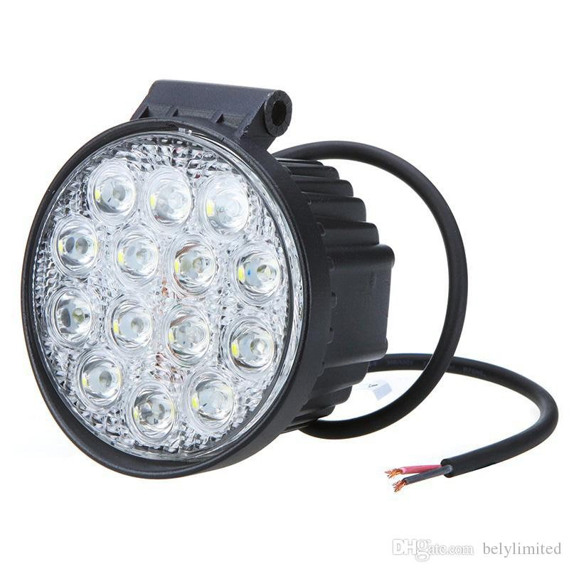 Car accessories round 42w led work light for truck, good waterproof auto parts 42w factory price drive light led spotlight 4x4