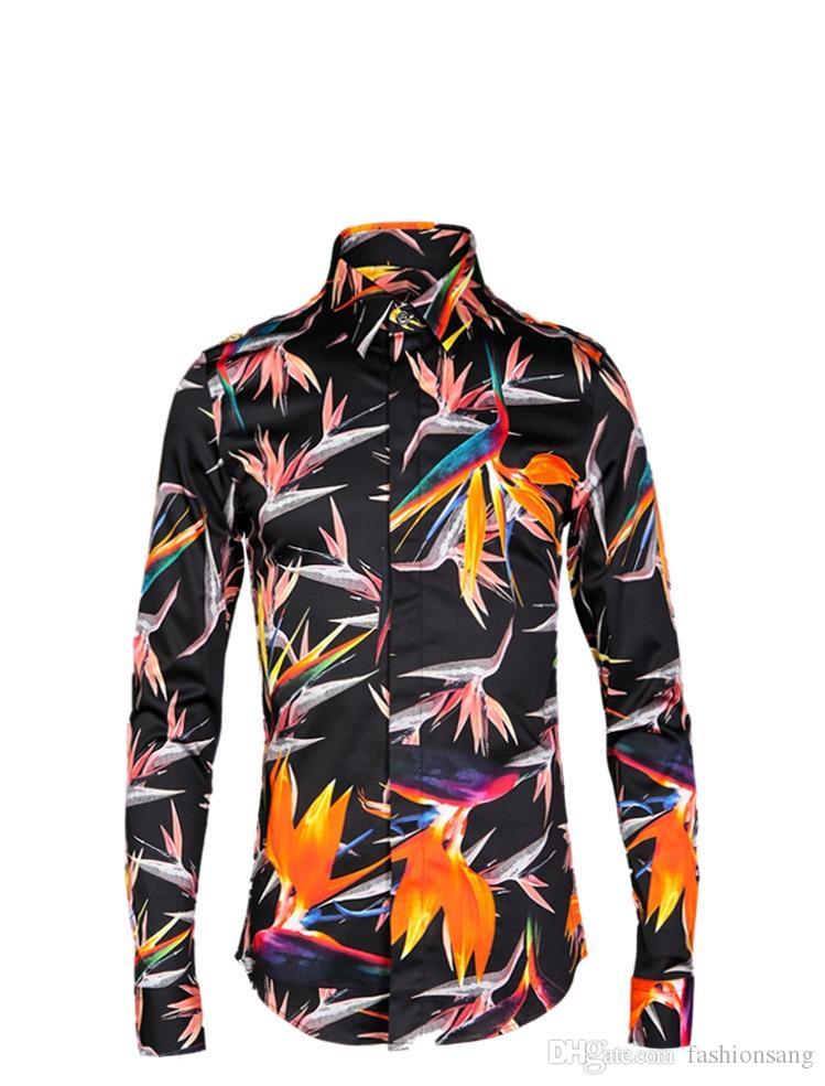 Camicia a maniche corte con stampa floreale nera a maniche lunghe uomo abbigliamento plus size M-4XL uomo Slim fit manica lunga