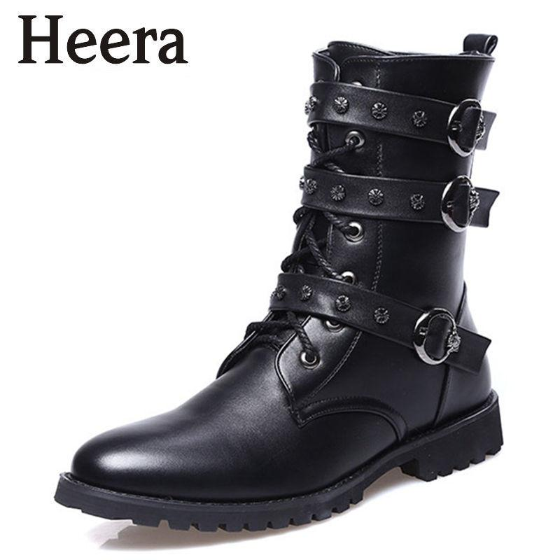 Men Boots Winter Military Combat Boots Outdoor Shoes Buckle High ...