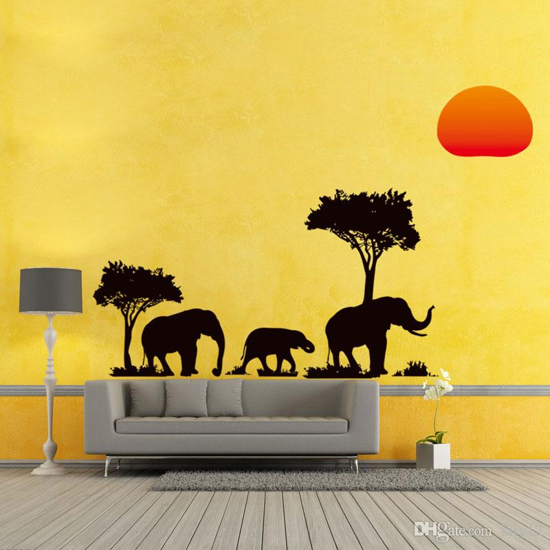 Wholesale DIY Home Decor Removable 3D The New African Elephant Wall Stickers Room Waterproof Wallpapers