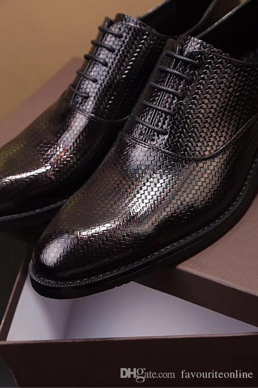 Fashion Show Mens Business Casual Oxfords обувь дышащая платье Корова кожа обувь оригинальное издание Black Chirstmas Size38-44
