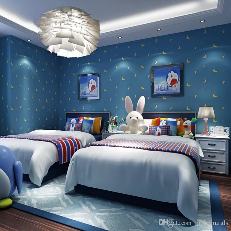 Blue Bedroom Boys Bedroom Modern Design Apartment With Loft Bedroom Blinds For Bedroom: Modern Kids Room Wallpaper Cartoon Star Moon Cute Stars