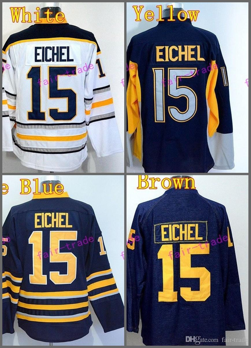 2017 Buffalo Sabres Jersey 15 Jack Eichel Ice Hockey Jerseys Home Navy Blue  White Yellow Gray Jack Eichel Sabres Jerseys Hockey Jerseys Online with ... 569284e01