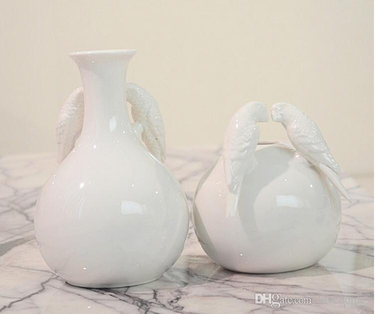 Moderne Vogel und Ball Form Keramik Vase für Home Decor Tabletop Vase weißen Farben
