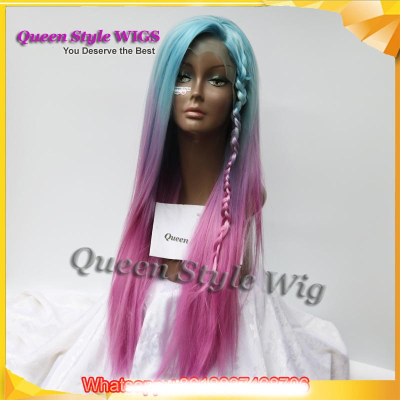 Pastel Blue Ombre purple Rose Red Color Wigs Long straight Glueless Lace Front Wig Synthetic Mermaid Unicorn Rainbow Color Cosplay wigs