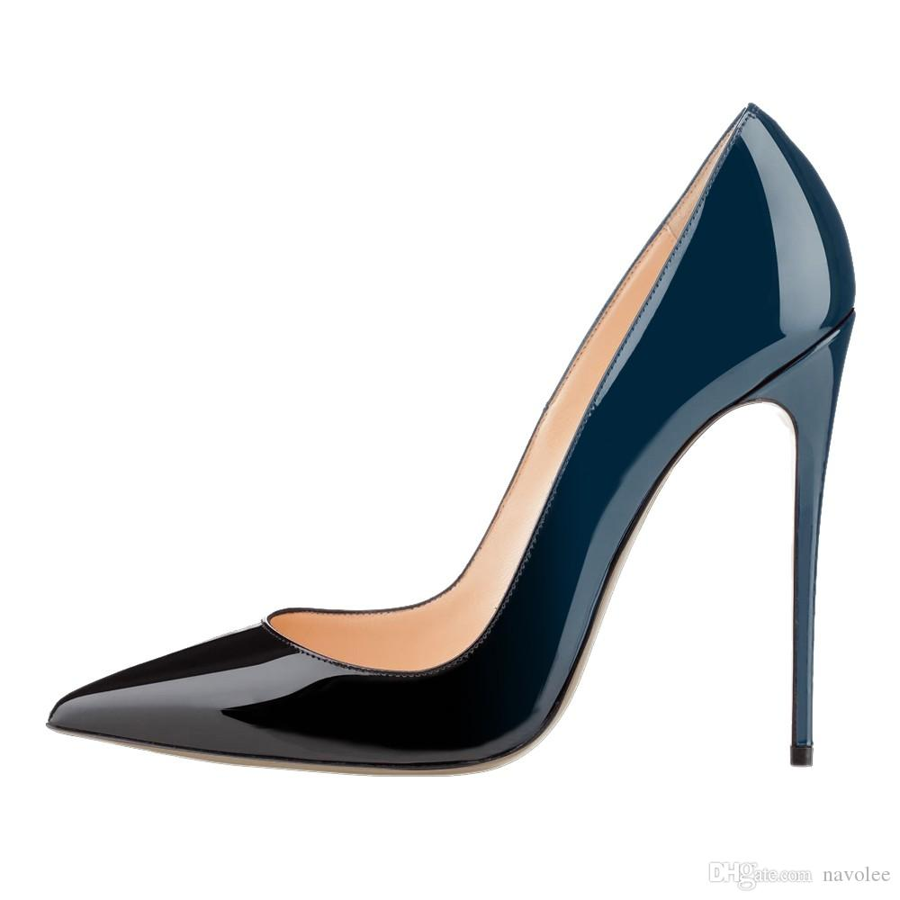 Femme De Pompes Pour Femmes Cuir En Mariage Talons Hauts Lttl Noir 12cm Mouton Chaussures Stilettos FJTclK13