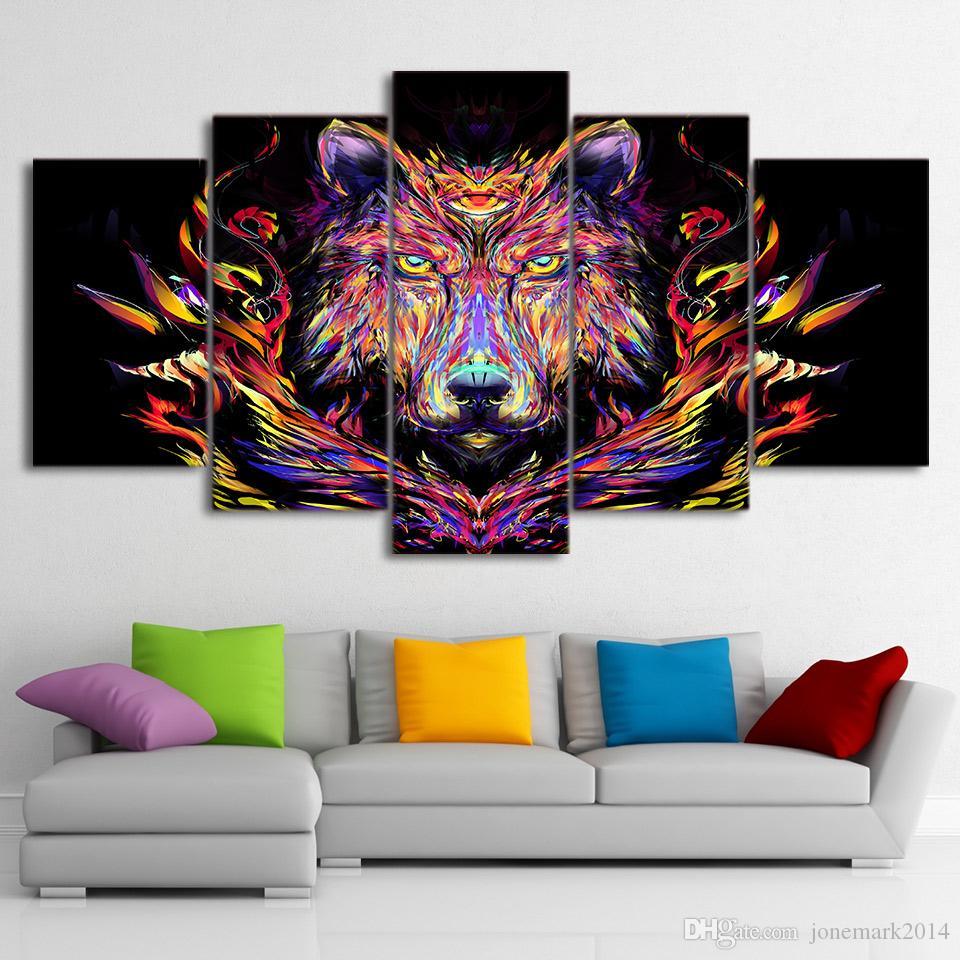 5 Pz / set Incorniciato HD Stampato Colore Testa di Lupo Wall Art Canvas Moderna Pittura Poster Home Decor Immagine Decorativa Feng Shui Art