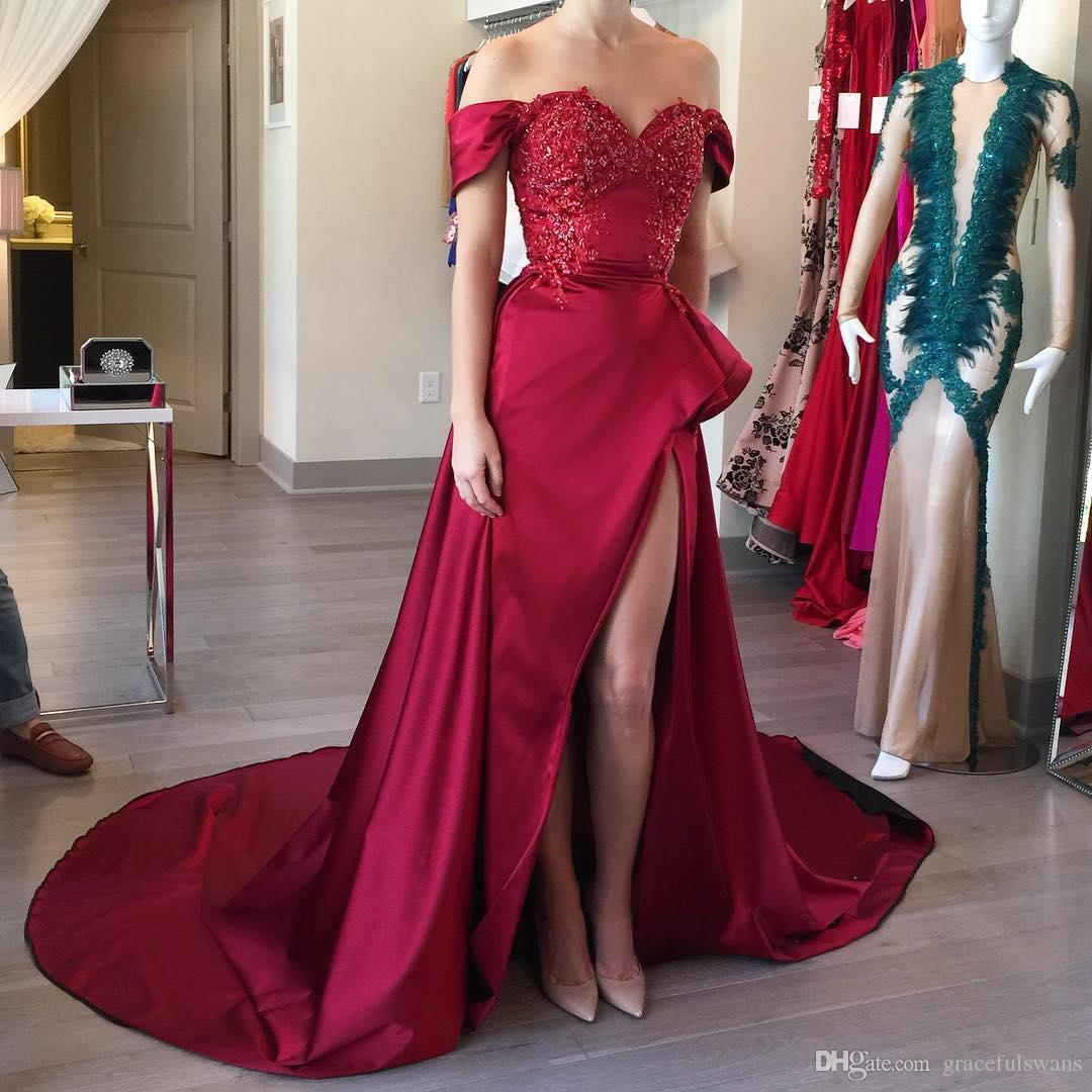 dedda1686b Sweetheart Off the Shoulder Long Evening Dresses Burgundy Lace Appliques  Dress for Women Sparkly Beaded High Low Satin Evening Gowns