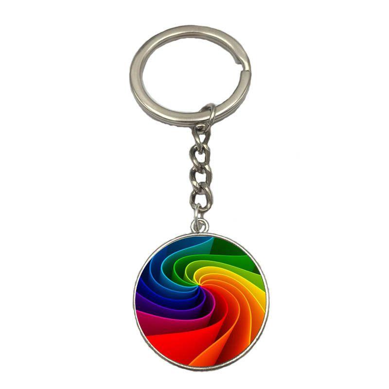 Rainbow Color Spring Button Rainbow Flag Time Gemstone Key Chain Customizable KR217 Keychains a