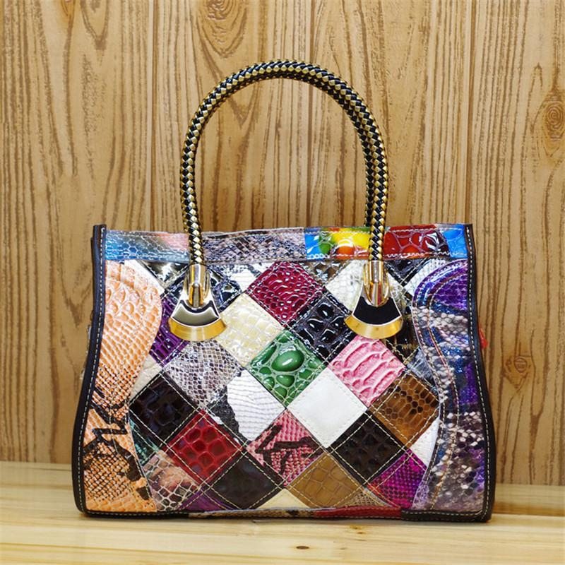 630364fefb Wholesale Caerlif Top Handle Bags Women Leather Handbags Shoulder Crossbody  Bags Genuine Leather Bag Bolsas Ladies Tote Bag Colorful Fashion Bags  Leather ...