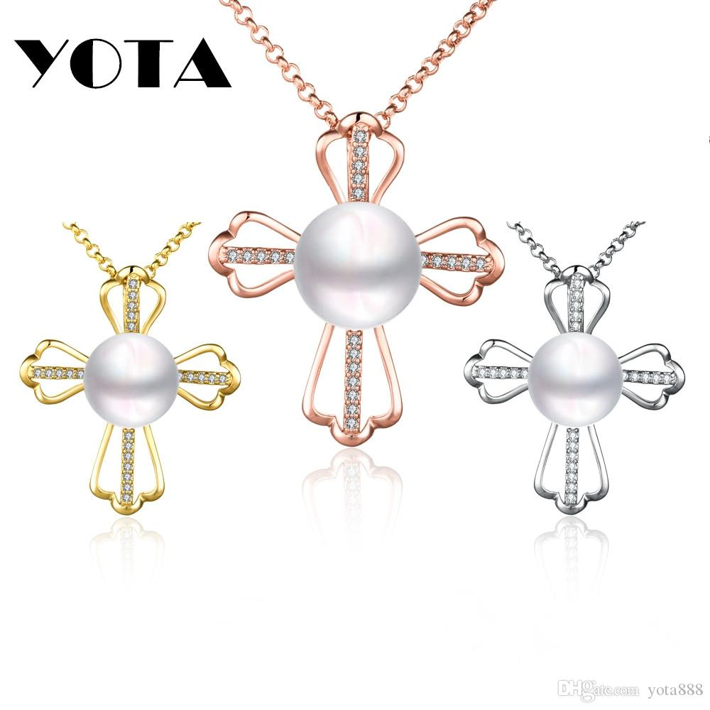 Wholesale romance white natural pearl necklace cross design gold wholesale romance white natural pearl necklace cross design gold silver plated link chain 45 cm woman jewelry pendant necklace personalized pendant necklace aloadofball Images
