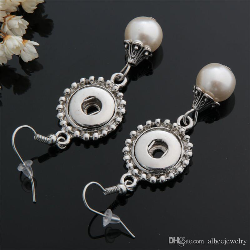 Mix Colors Fashion Women Glass Pearl Charms Noosa Chunks Metal Ginger 12mm Snap Buttons Earrings Jewelry Wholesale