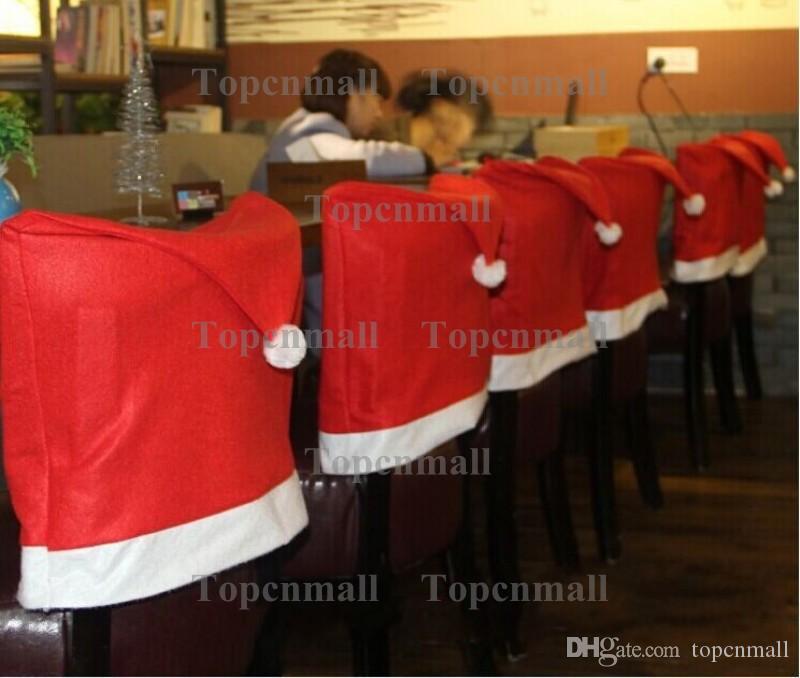 Fashion Santa Claus Red Hat Chair Back Cover Christmas Dinner Table Party Decor For Christmas
