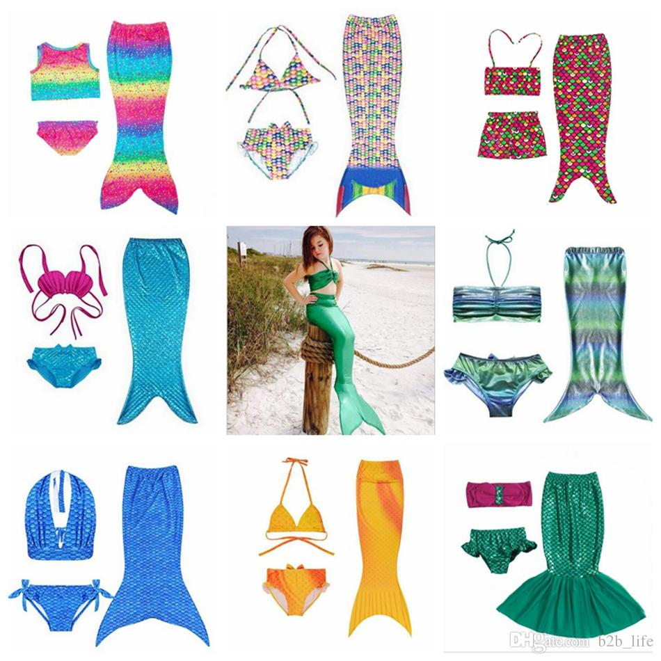 Fille sirène queue swimmable enfants sirène queue Bikini Set sirène palmes maillot de bain maillot de bain natation Beachwear maillot de bain costume OOA2004