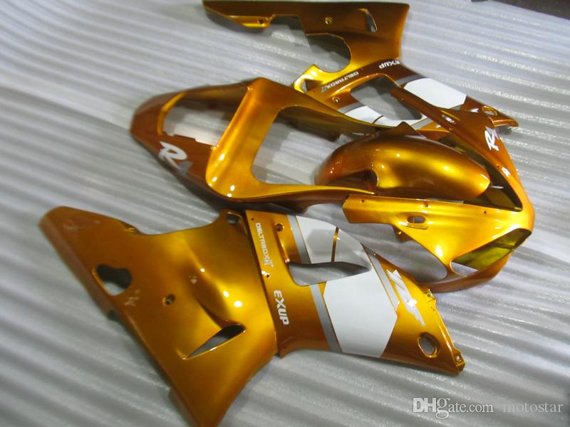 Bodywork fairing kit for Yamaha YZF R1 00 01 gold white motorcycle fairings set YZFR1 2000 2001 OT39