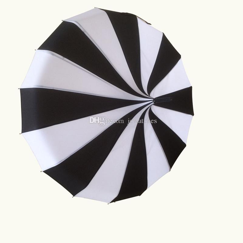 흑백 스트라이프 골프 우산 긴 핸들 직선 파고다 우산 윈드 쉴드 비 우산