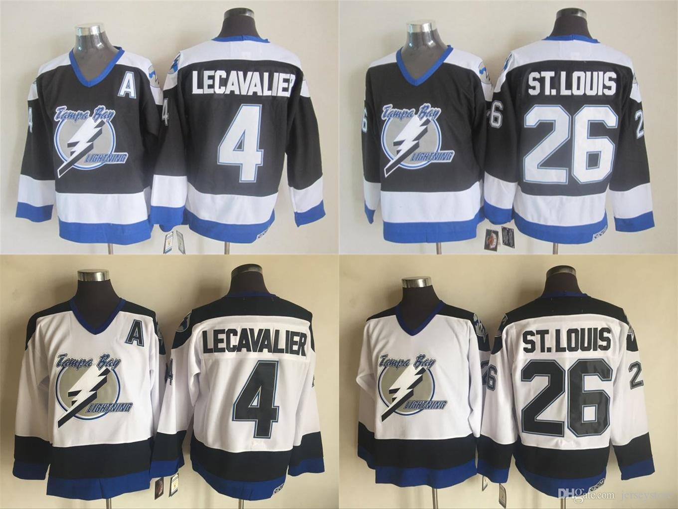 d64226cfc ... 2017 Tampa Bay Lightning Nhl 4 Vincent Lecavalier 26 St.Louis White  Blue Throwback Hockey ...