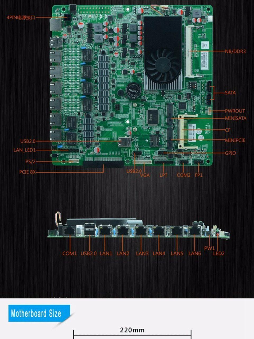 Firewall-Motherboard N70SL unterstützt Intel 1037U Dual-Core-Prozessor mit 6 * USB 2 * COM für 6 LAN Kostenloser Versand