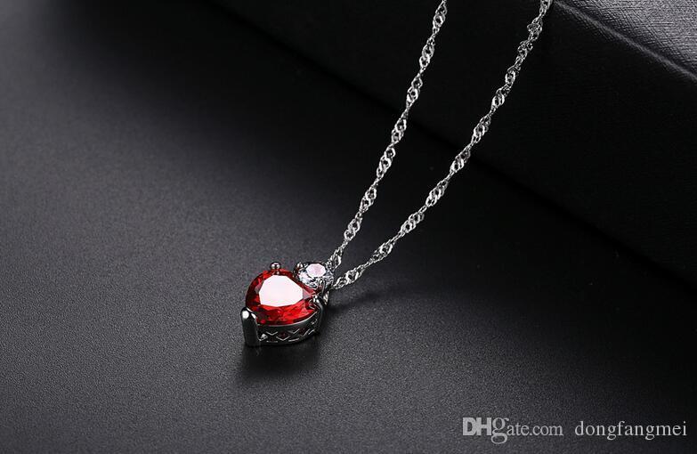 De alta qualidade de alta qualidade zircão granada orgulho coração colar WFN082 com corrente misturar a ordem 20 peças muito