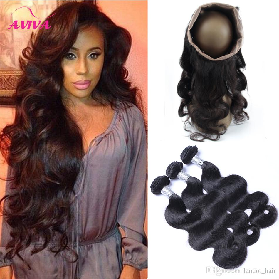 360 Full Lace Frontal Closure With 3 Bundles Brazilian Virgin Human Hair Weaves Body Wave Peruvian Indian Malaysian Cambodian Wavy Remy Hair