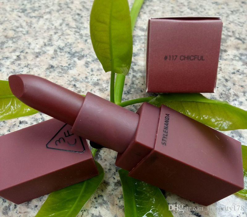 Heißer Verkauf Qualität 5 Farben 3CE Eunhye House Limited Edition Samt Matte Schokolade Lippenstift 120 Stück / Los DHL frei