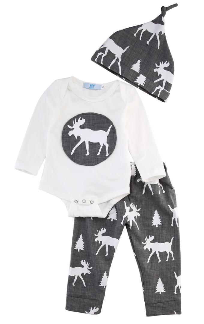 b96e5c243 2018 Newborn Baby Boy Girl Xmas Deer Romper Tops +Long Gray Pants Hat 3PCS  Outfits Christmas Set Clothes SS