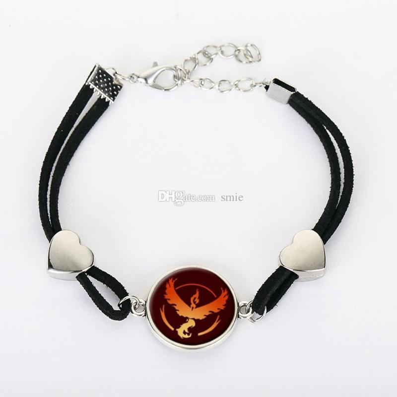 New Unisex Poke Go Elf Ball Charm Bracelets Cartoon Action Figure Time Gemstone Alloy Heart Hand Chain Bracelet XMAS Jewelry Gifts