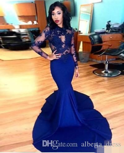 Royal Blue Long Lace Evening Dresses 2019 Sheer Applique Long Sleeve Floor Length Stretch Satin Mermaid Prom Dresses Arabic