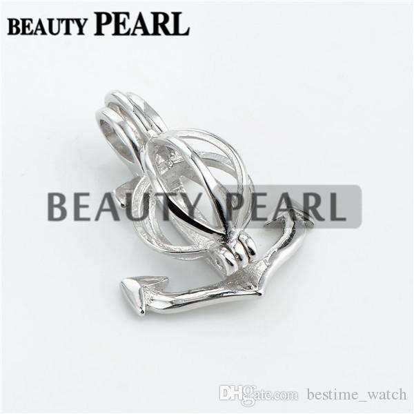 Bulk of Anchor Pearl Cage Pendant Mounting Wishing Pearl Gift 925 Sterling Silver Lockets