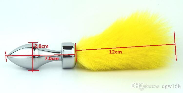 Cabeza de forma de bala unisex Plug anal Bunny Tail Ribbed Butt Inserts BDSM Gear Fetish Sex Toys
