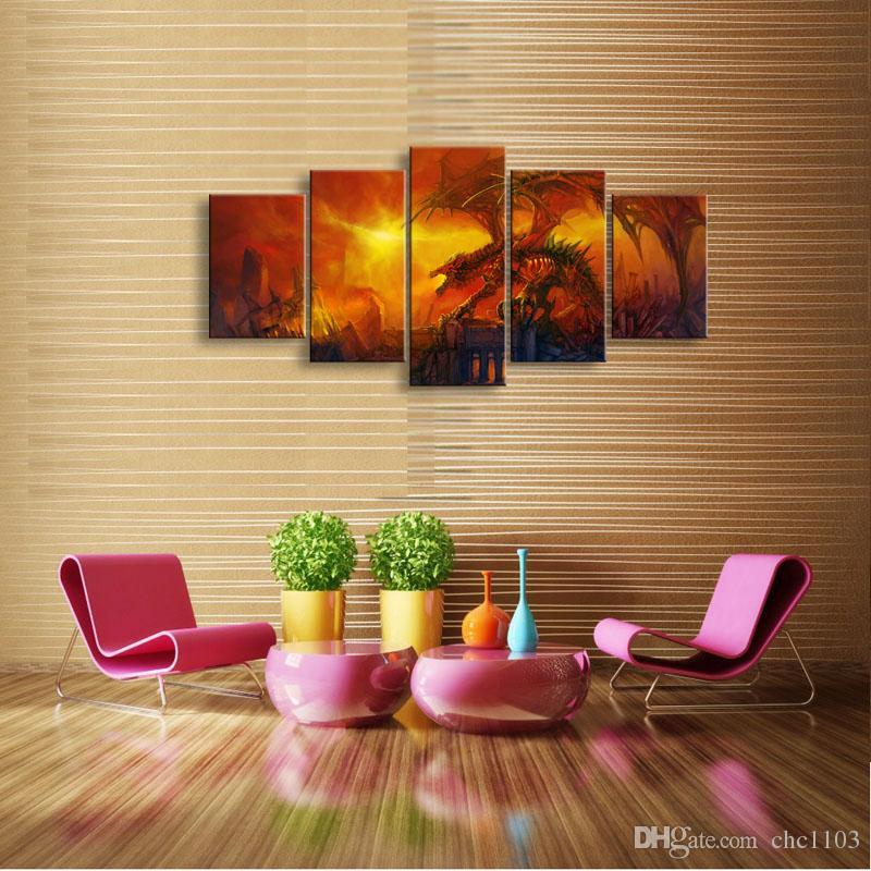 5 pannello fuoco drago dipinto su tela immagine arte della parete della decorazione della casa soggiorno stampa su tela moderna pittura - grande arte della tela a buon mercato SD-008