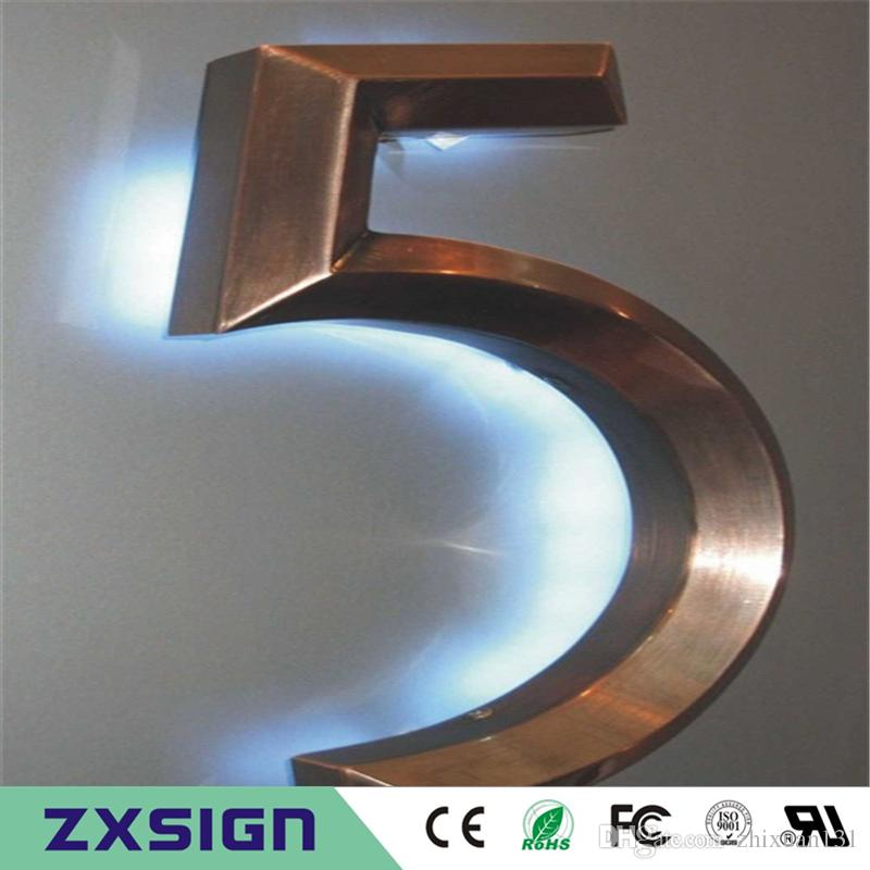 Factory Outlet 3d brushed mirror polished stainless steel high bright illuminated sign for business, model metal craft back lighted signgae