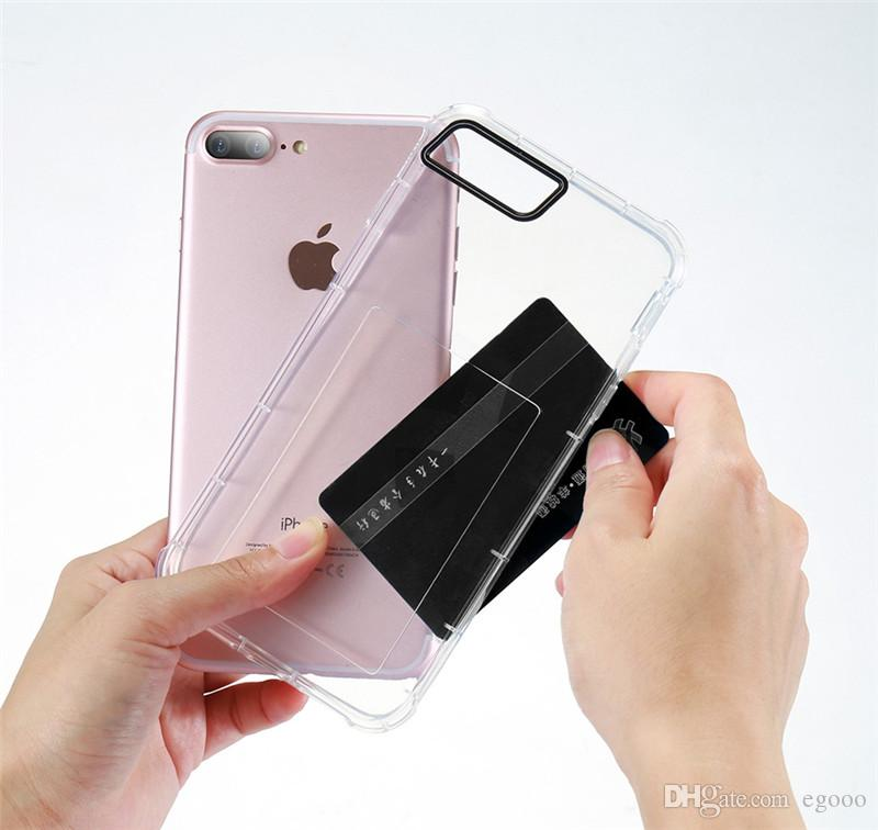 buy online 92f2e 02e3d Card Slot Clear Case For iPhone X XR XS Max 8 7 6 6S Plus Soft TPU  Transparent Phone Back Cover Cases Card Holder Shells