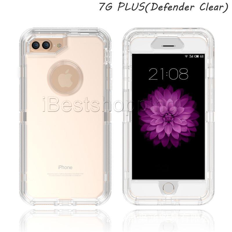 3 in 1 Klar Roboter-Kasten Transparent Ganzkörper-Abdeckung mit Clip für iPhone 11 Pro Max X Xs Max 8 7 6 Plus Samsung S7 S20 S8 S9 Plus-Hinweis 9 8