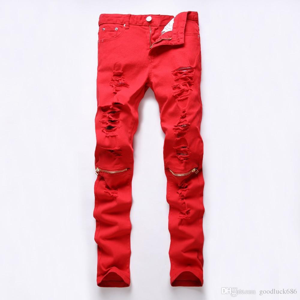 Compre Nuevo Mens Ripped Jeans Blancos 100% Algodón Flaco Slim Fit ...