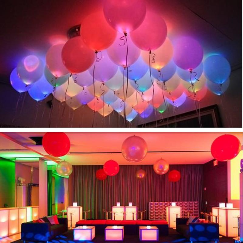 Led Balloons 12 Inches Latex Multicolor Lights Helium Balloons