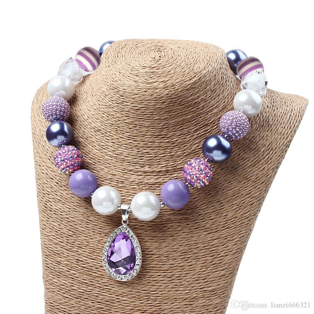 Envío gratis caliente nuevo amuleto lágrima collar de amatista Chunky Bubblegum grano para niños niño Dress Up HJ103
