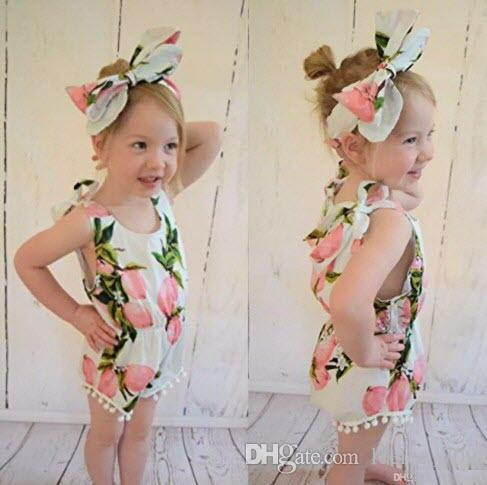 2016 baby girl toddler set outfits lace tassels 100% cotton floral romper onesie diaper covers + bowknot headband INS hot Lemon