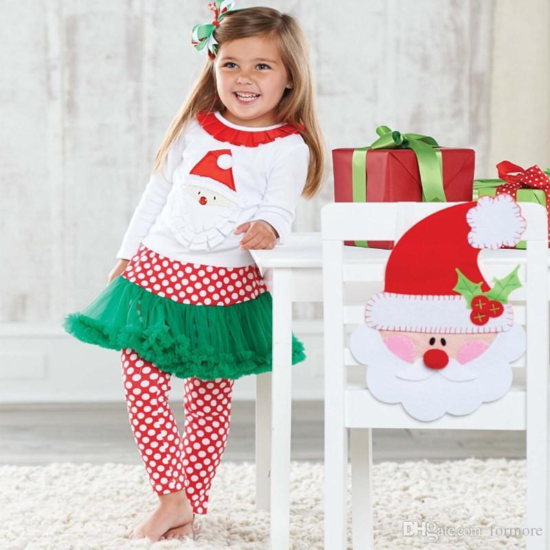 2018 christmas dress set baby girls boutique clothing set kids xmas suit cartoon santa claus shirt trouserdot pant dress children clothes set from formore