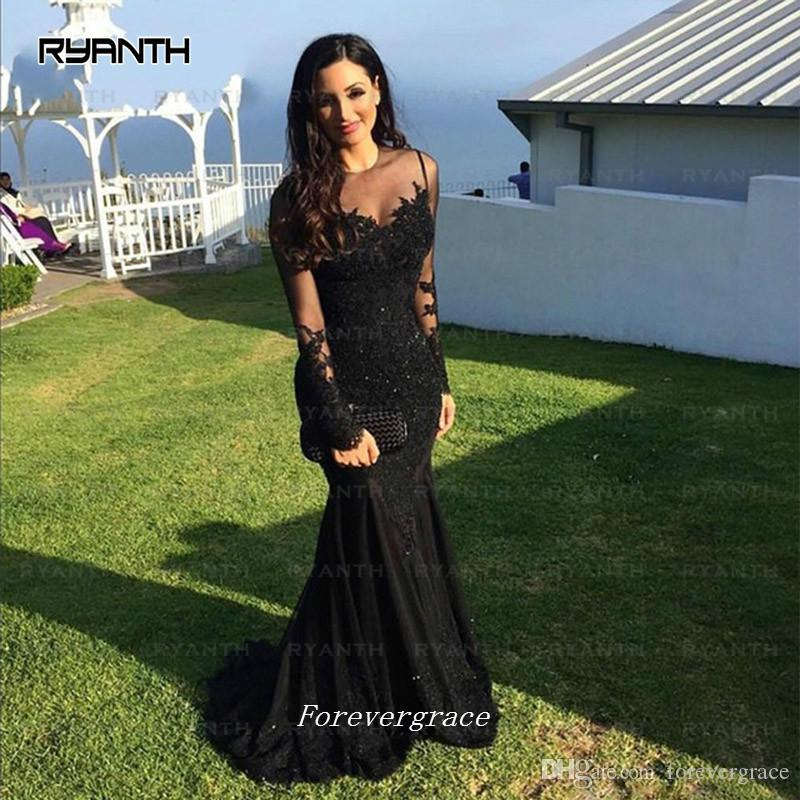 dd33fa476eaa 2017 Cheap Sexy Long Lace Deep V neck Prom Dress Sleevless Black Girl  Mermaid African Evening Party Gown Custom Made Plus Size