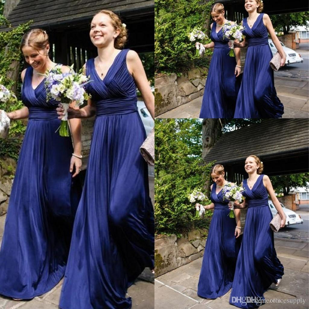 670c9a7e5e 2018 Royal Blue Chiffon Cheap Country Bridesmaid Dresses V-neck Pleats  Ruched Backless Long Soft Maid of the Honor Dresses for Weddings