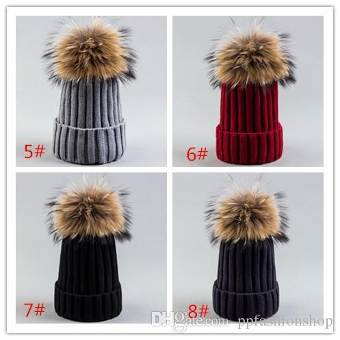 2017 nuevo sombrero de punto de tira de alta calidad, gorra puntiaguda, sombrero de lana de piel de 18 cm al por mayor envío gratuito de DHL