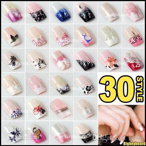 5x Pre Designed French Acrylic False Nail Full Tips With Free Nail