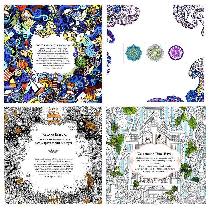 Decompression Secret Garden Coloring Books Lost Ocean Time Travel Painted Book Colour Toys Wonderland Exploration Mandalas Theme Kids Colouring
