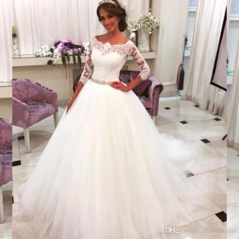 79cc159395d Illusion Off The Shoulder Ball Gown Wedding Dress With 3 4 Long Sleeves  Romantic Lace Bridal Dresses Vestido De Noivas Robe De Mariage Wedding Dress  Sale ...
